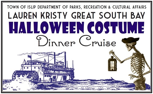 A banner image of a skeleton in a pirate hat holding a lantern out over the sea where a cruise ship floats, announcing the 2018 Hallow Costume Dinner Cruise