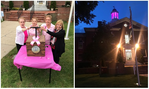 A split image, on the left side Supervisor Carpenter and representatives from local Breast Cancer Coalitions prepare to press the light activating lever, on the right, a picture of the lit cupola at night, in brillant pink