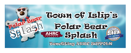 A banner image of a polar bear and the words Town of Islip Polar Bear Splash, benefiting AHRC Suffolk, along with the Town of Islip's logo