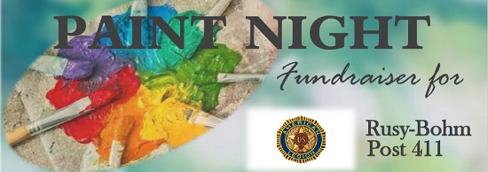 A banner image for the Rusy-Bohm Post 411 Paint Night with color pallet and paint brush images.